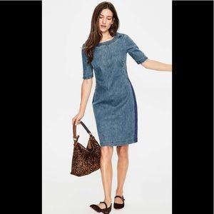 Boden Rhea Denim Dress w Side Stripe Size 12